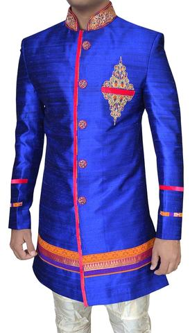 Mens Royal blue Raw Silk Wedding 2 Pc Indo Western