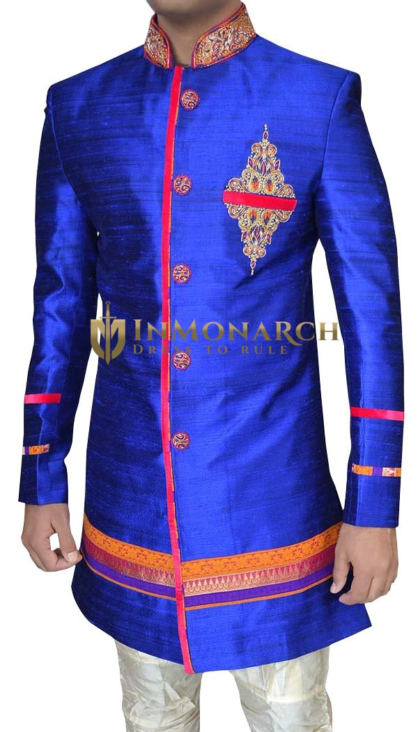 Sherwani for Men Wedding Royal blue Wedding Indo Western Sherwani