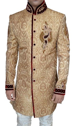Mens Golden Brocade 2 Pc Jodhpuri Indo Western