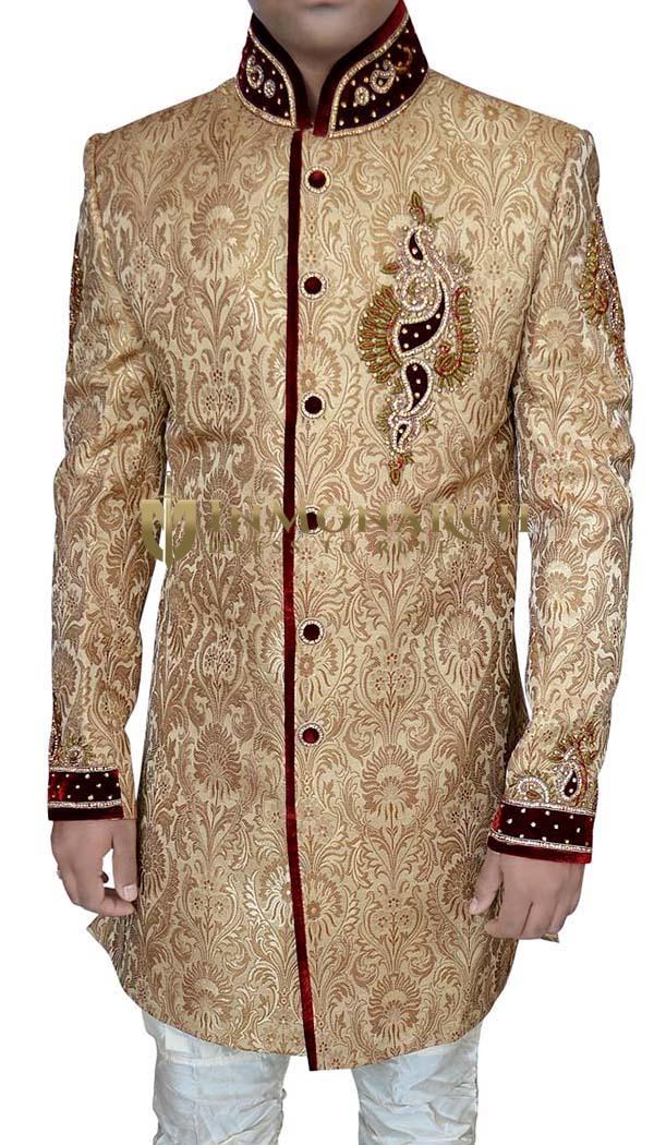 Mens Sherwani Kurta Golden Jodhpuri Indo Western Wedding Sherwani