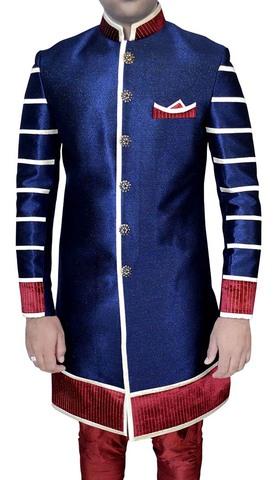 Mens Sherwani Blue Jute Indo Western Nehru Collar Kurta for Jeans