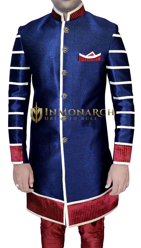 Mens Blue Jute 3 Pc Indo Western Nehru Collar