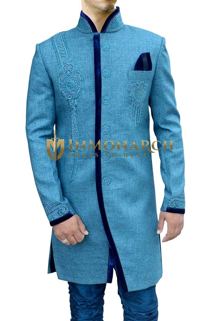 Mens Sky Blue 3 Pc Indo Western Trimmed Wedding