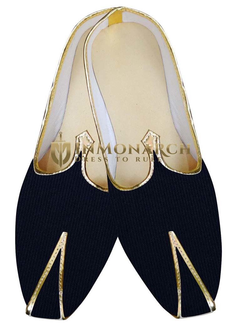 Indian Mens Shoes Navy Blue Velvet Shoes For Wedding Juti