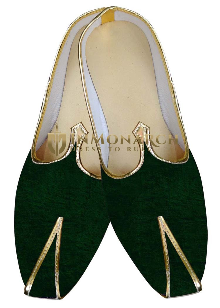 Mens Indian Bridal Shoes Green Velvet Mojari for Groom