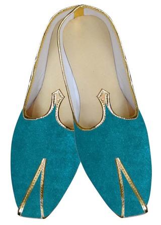 Indian MensShoes Teal Wedding Shoes Stylish Sherwani Juti Shoes