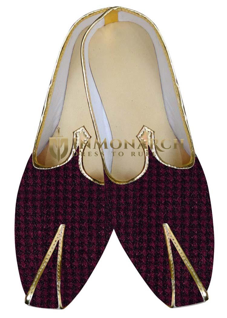 Indian MensShoes Magenta and Black Wedding Shoes Juti