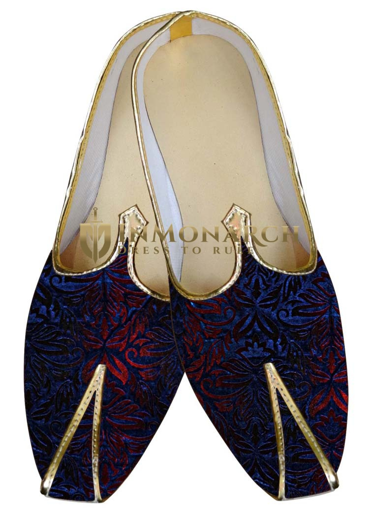 Mens Juti Navy Blue and Red Wedding Shoes Traditional Shoes For Men