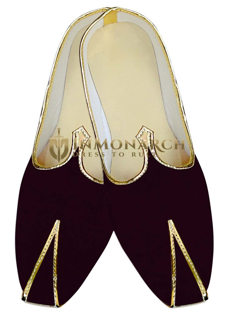 Mens Indian Bridal Shoes Brown Velvet Indian Wedding Shoes