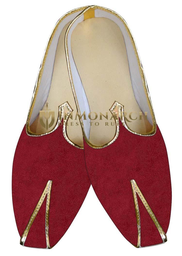 Mens Wedding ShoeFor Groom Red Indian BridalShoes Velvet Wedding Shoes