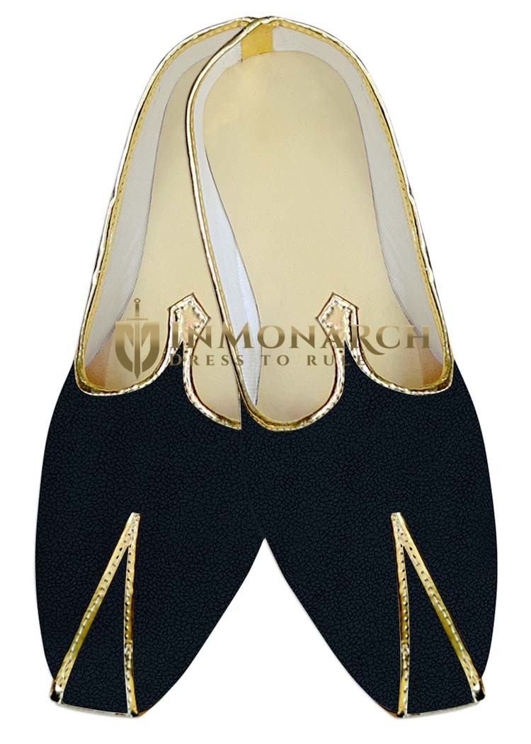 Mens Juti Black Velvet Wedding Mojari Comfortable Sherwani Shoes