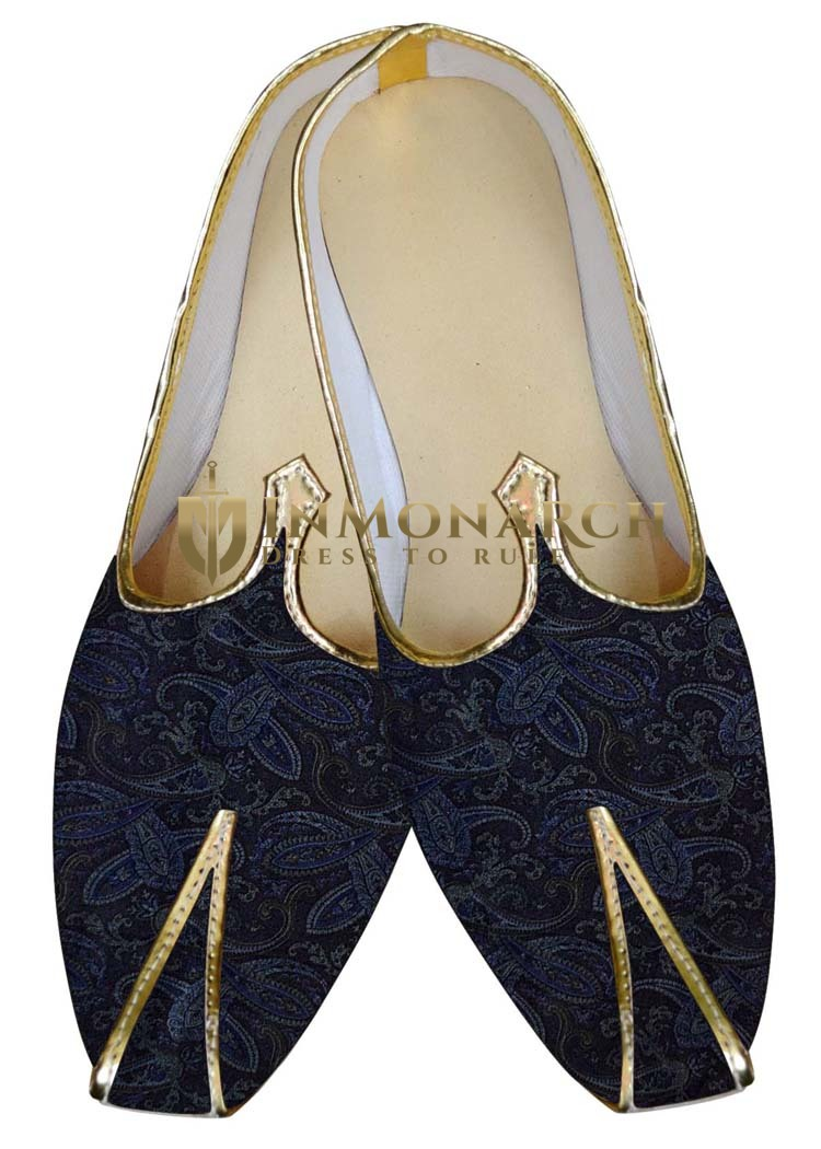 Indian MensShoes Dark Navy Wedding Shoes Self Design