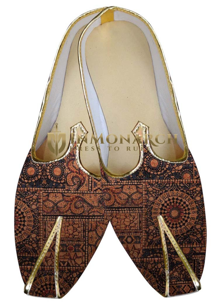 Mens Indian Bridal Shoes Brown Wedding Shoes Geometric Pattern