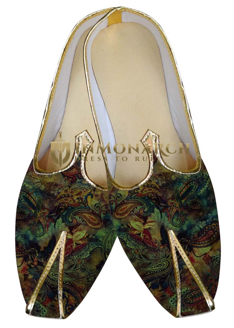 TraditionalShoes For Men Green Wedding Shoes Paisley Pattern