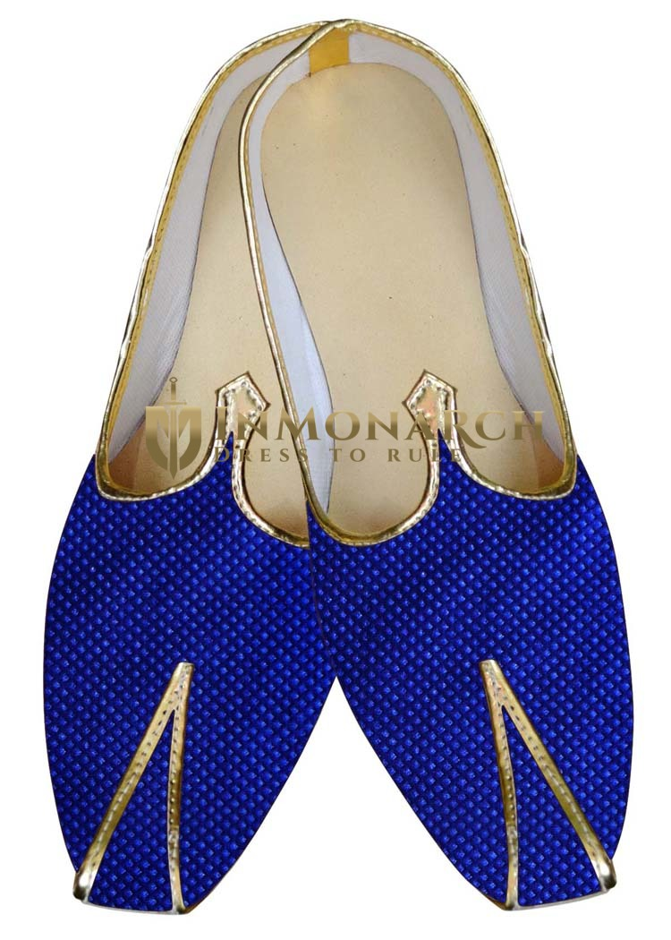 Indian Mens Shoes Blue Wedding Shoes Threaded Box Design