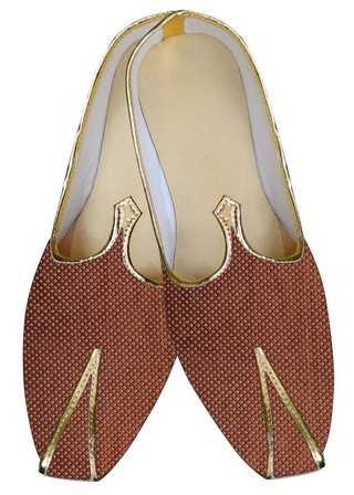 Mens Sherwani Shoes Brown Wedding Shoes Threading Box