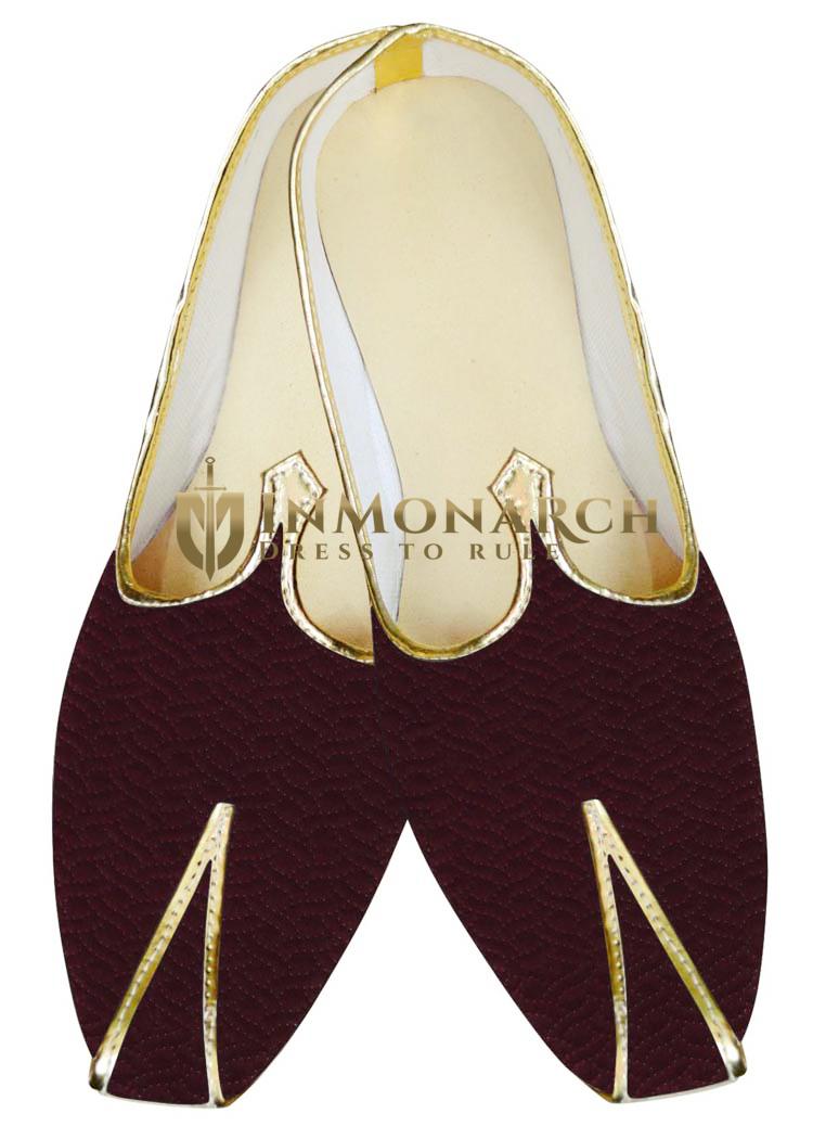 Indian MensShoes Wine Indian Juti Wedding Mojari Shoes
