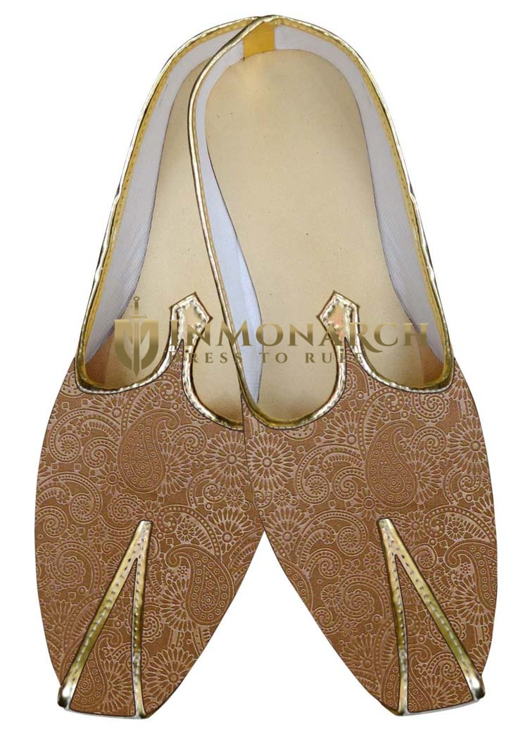 Mens Indian Bridal Shoes Bisque Wedding Shoes Paisley Pattern