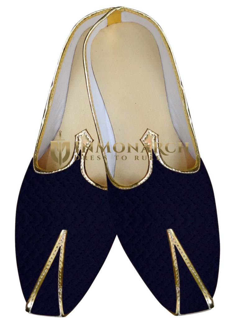 Indian Wedding Shoes For Men Navy Blue Wedding Shoes Threading Work
