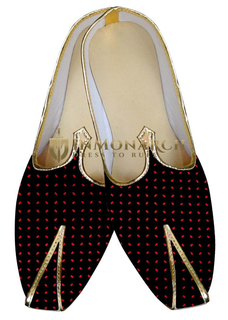 Indian Mens Shoes Black and Red Dot Wedding Juti Shoes