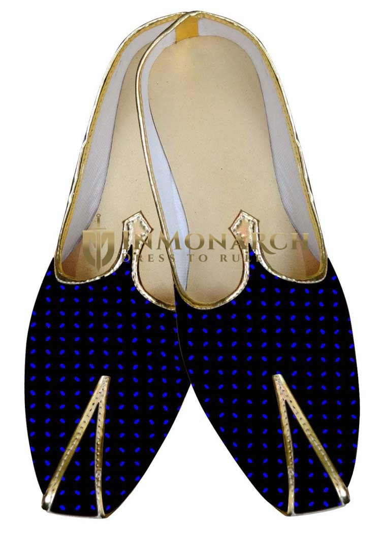 Mens Sherwani Shoes Black and Blue Dot Wedding Shoes