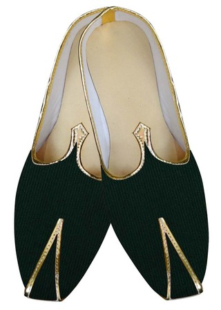 Mens Indian Bridal Shoes Forest Green Wedding Footwear