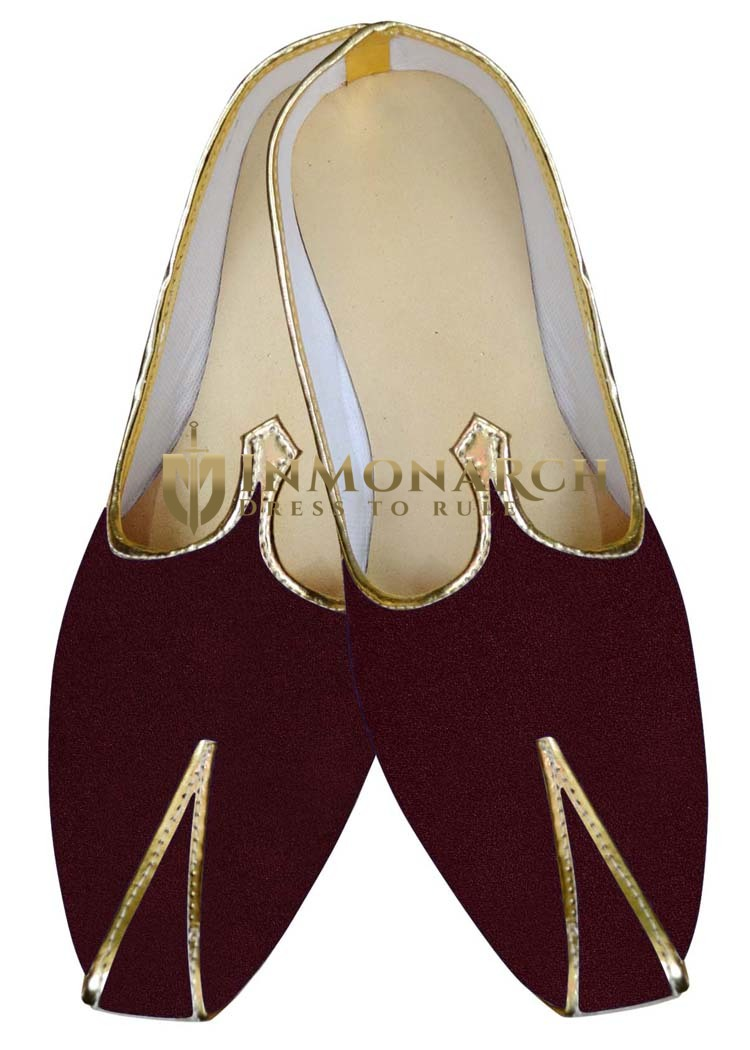 Mens Sherwani Shoes Wine Wedding Footwear Formal