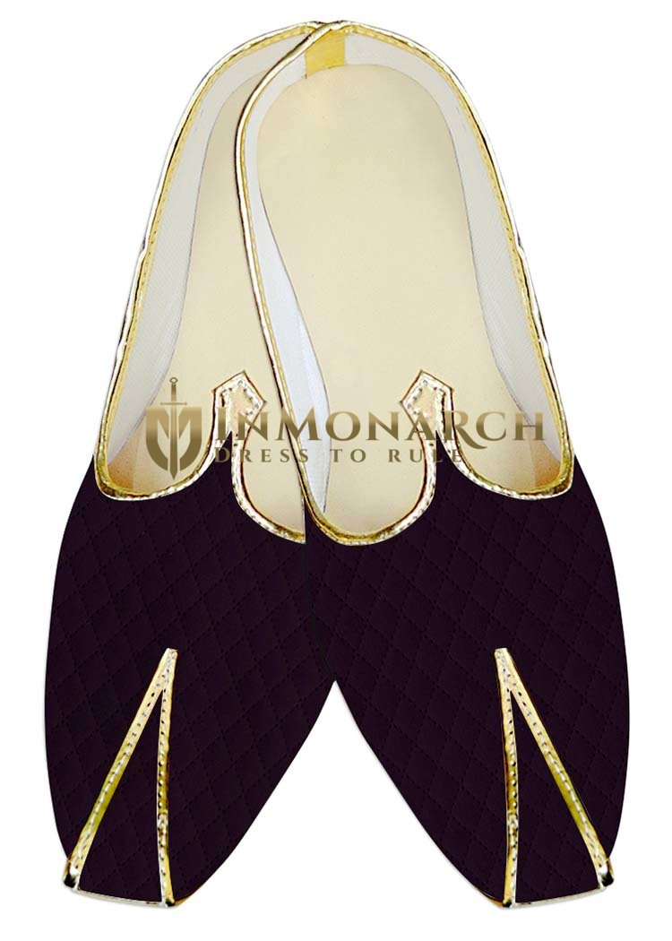 Mens Indian BridalShoes Purple Wedding Shoes Thread work