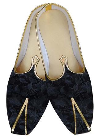 Mens Black Wedding Shoes Flower Design