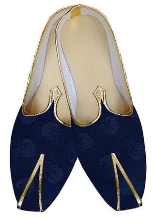 Mens Dark Navy Wedding Shoes Paisley Design