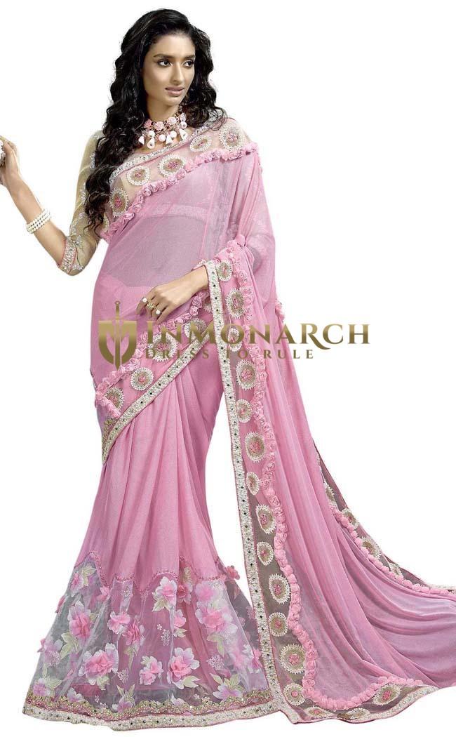 Pink Lycra Net Hand Work Wedding Saree