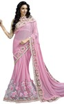 Pink Lycra Net Hand Work Wedding Saree