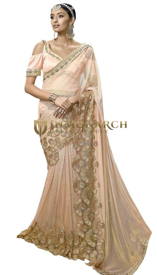 Ivory Lycra net Designer Partywear Saree