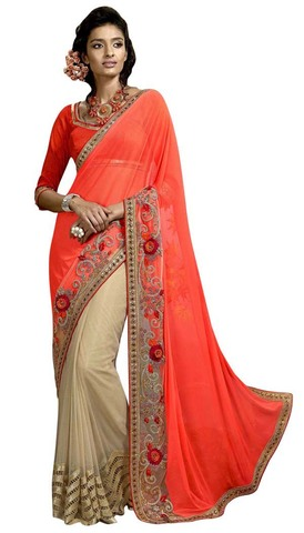 Orange and Beige Net Lycra Partywear Saree
