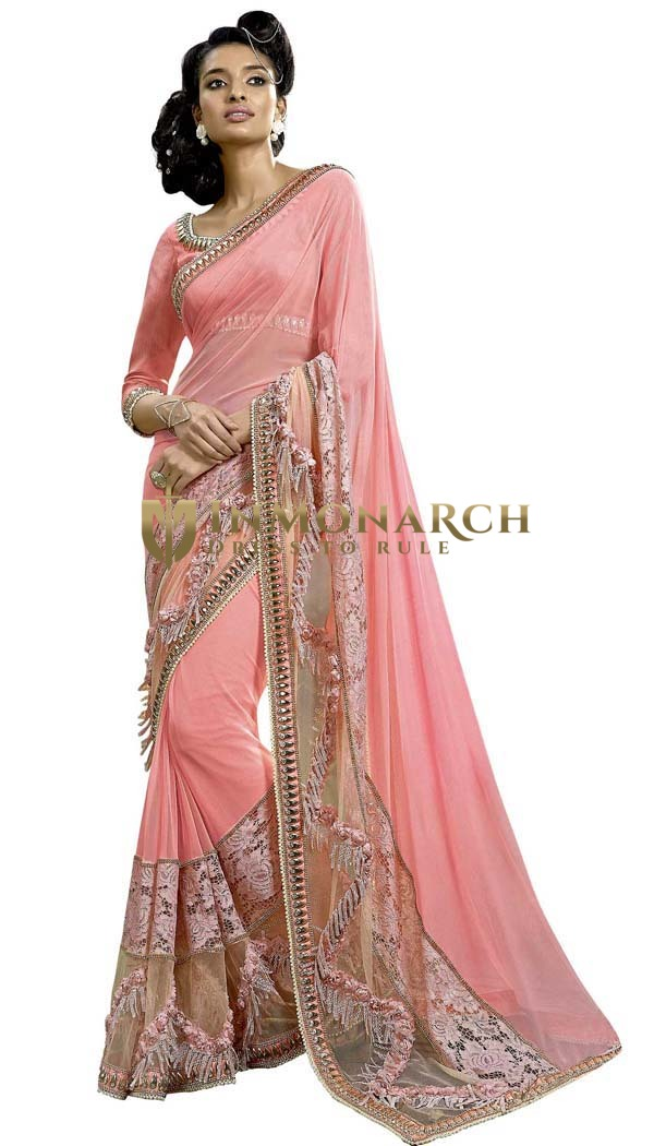 Embroidered Work Pink Bridal Saree
