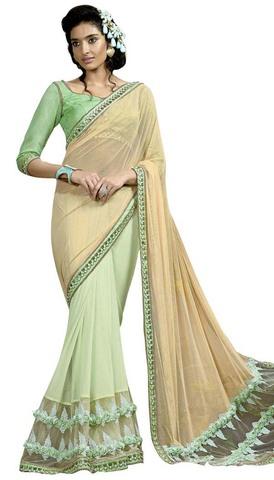 Beige and Green Net Lycra Designer Saree