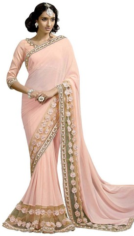 Pink Designer Lycra Net Wedding Saree
