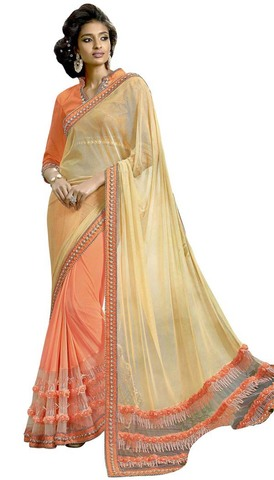 Orange and Beige Lycra Bollywood Saree