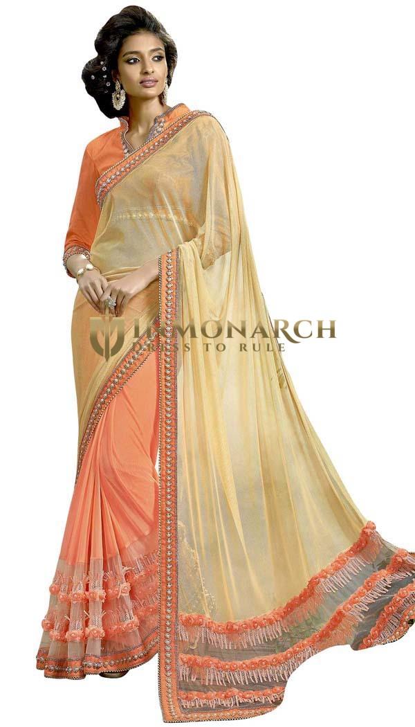 Orange and Beige Lycra Bollywood Saree