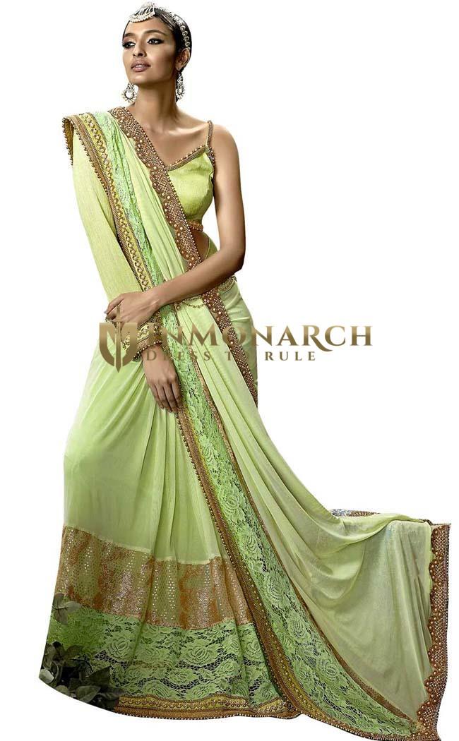 Light Green Lycra Net Bridal Saree
