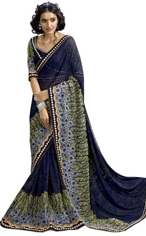 Navy Blue Lycra Net Wedding Saree