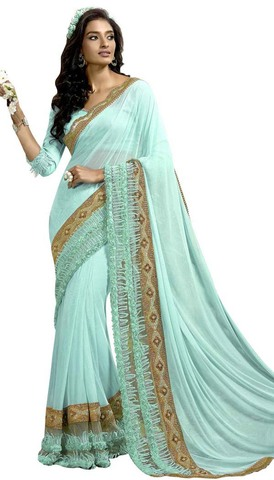 Cyan Lycra Net Bollywood Saree