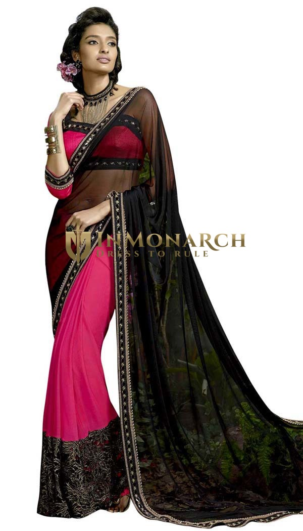 Magenta and Black Lycra Net Wedding Saree