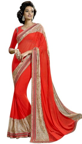 Orange and Beige Lycra Net Bridal Saree