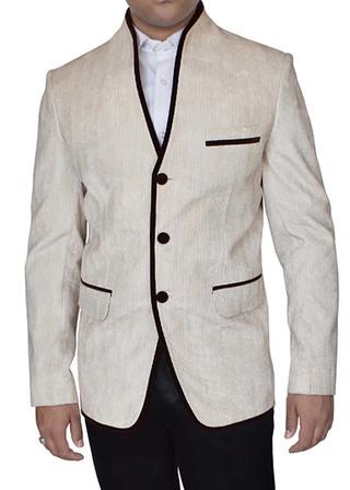 Mens Beige Linen Jacket 3 Button with High Neck