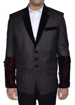Mens Slate Gray Jacket Notch Lapel Collar Cuff Sleeve