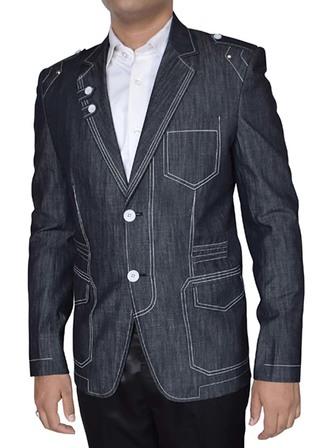 Mens Dark Gray Blazer Designer Notch Lapel 2-Button