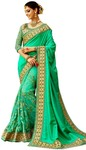 Light Green Net and Art Silk Bridal Saree