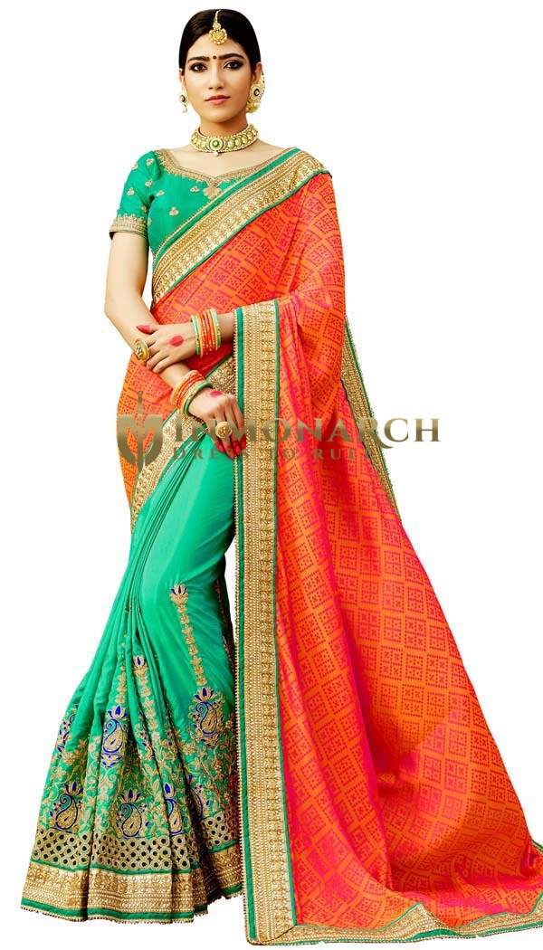 Teal and Orange Half and Half Saree