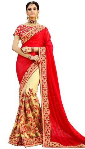 Light Yellow and Red Chiffon Net Saree